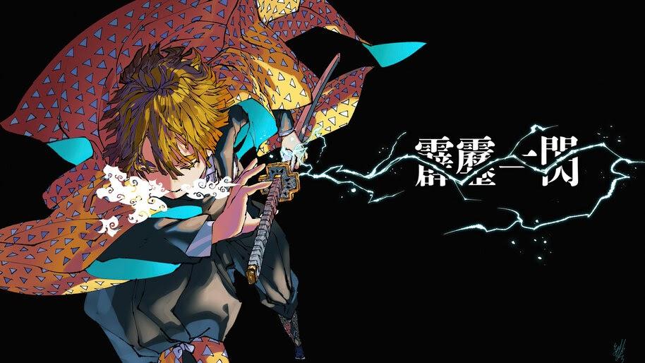 Zenitsu Agatsuma, Breath of Thunder, Kimetsu no Yaiba, 4K, #3.1417