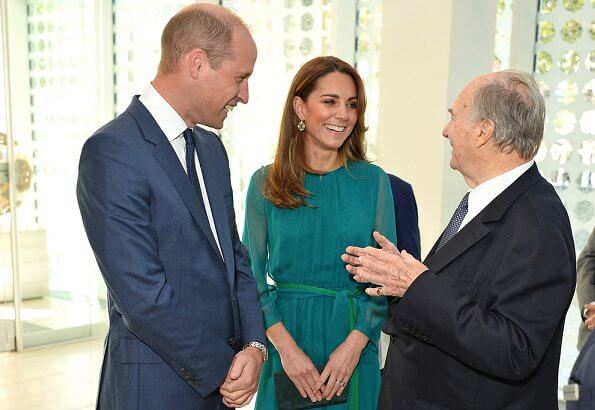 Kate Middleton wore Aross Girl x Soler Amanda silk georgette maxi dress, and Zeen dazzling ceramic drops rarings