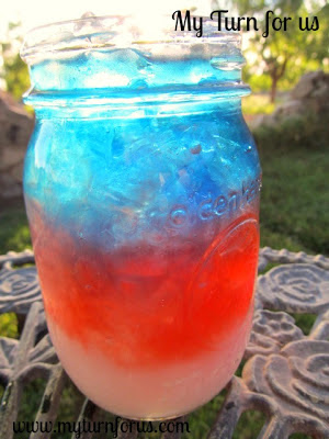 red white and blue layer drink