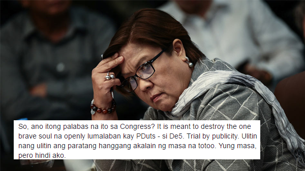 "Viral Facebook post says Senator on ""Trial by Publicity"""