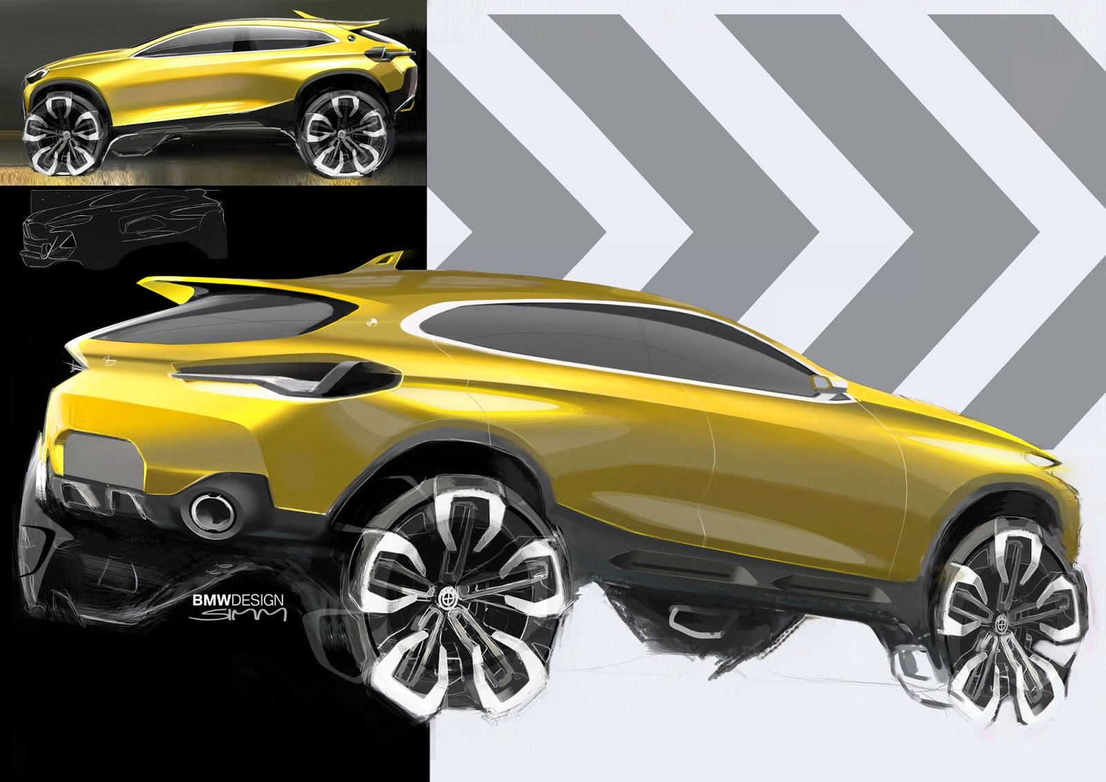 BMW X2 sketch by Sebastian Simm - rear quarter view in yellow