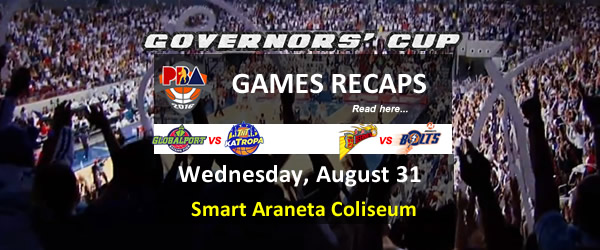 List of PBA Games Wednesday August 31, 2016 @ Smart Araneta Coliseum
