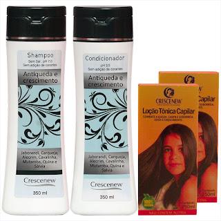 Kit com 1 Shampoo, 1 Condicionador E 2 Loções Queda de Cabelo Crescenew