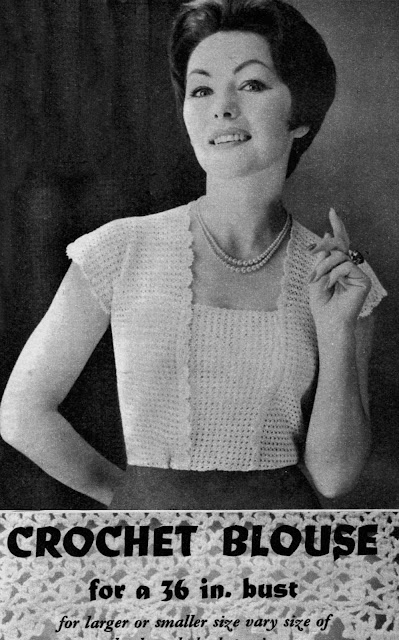 The Vintage Pattern Files: Free 1960's Crochet Pattern - A Womens Blouse