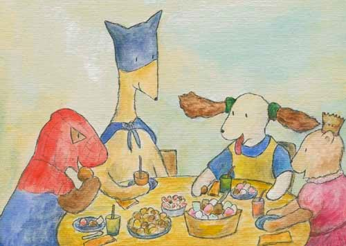 Postcard illustration of Hulmu Hukka and Haukku Spaniel in birthday party. Every guest has a costume.