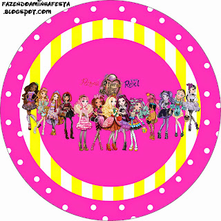 Toppers o etiquetas de Ever After High Amarillo y Rosa para imprimir gratis.