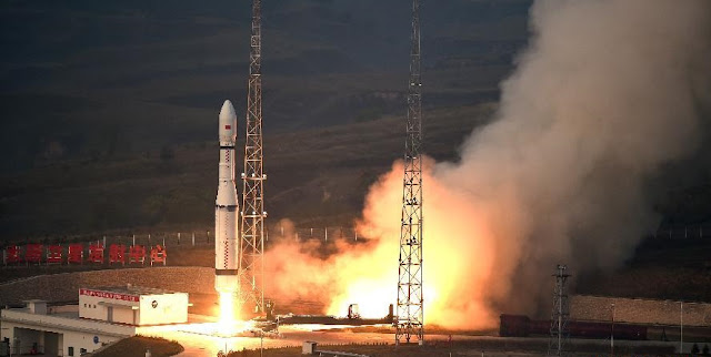 A new model of China's carrier rocket Long March 6 carrying 20 micro-satellites blasts off from the launch pad at the Taiyuan Satellite Launch Center in China's Shanxi Province on Sept. 20, 2015. Photo Credit: Xinhua/Yan Yan