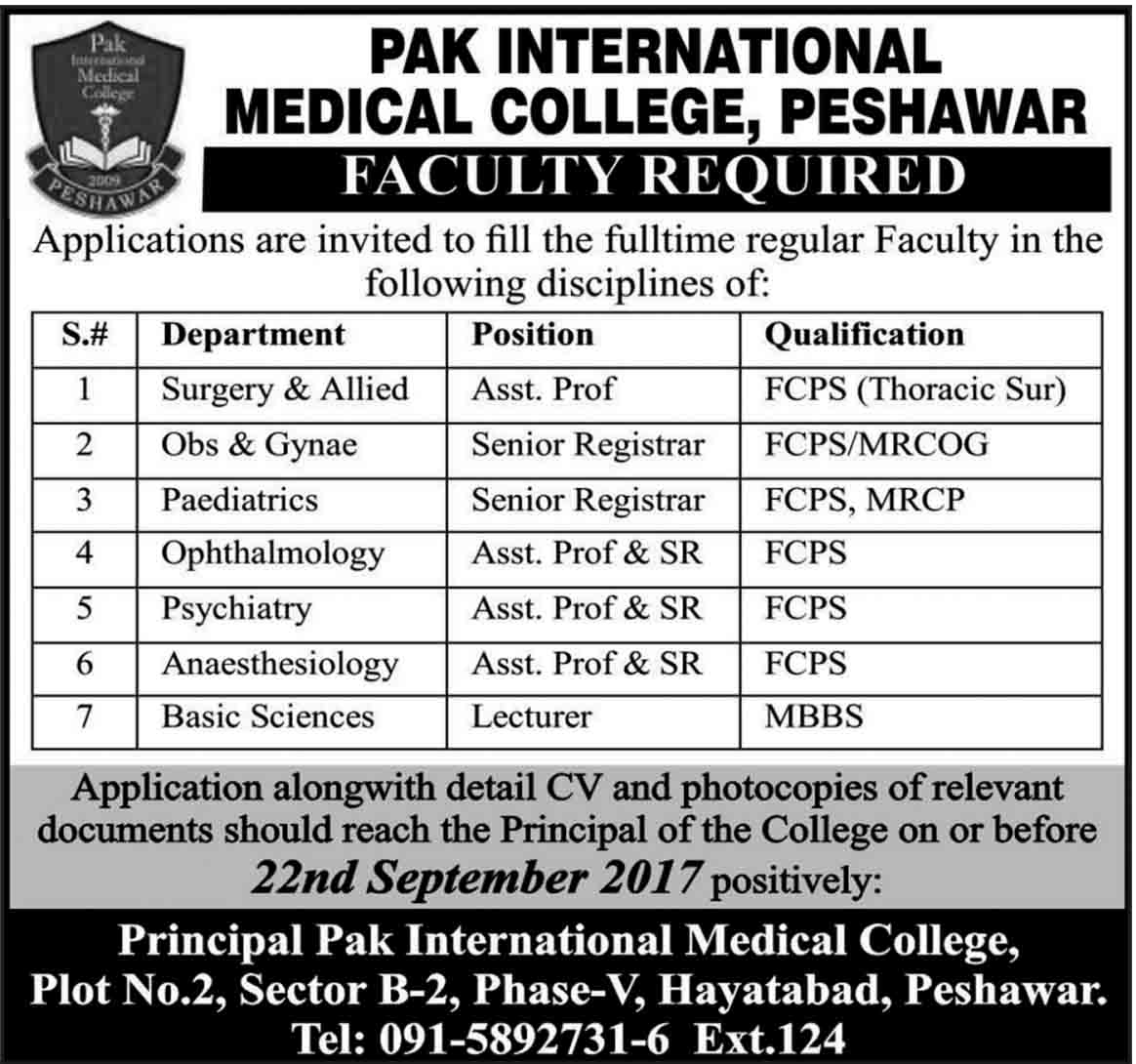 Senior Registrar, Professors, Lecturers Jobs In Medical College Peshawar Sep 2017