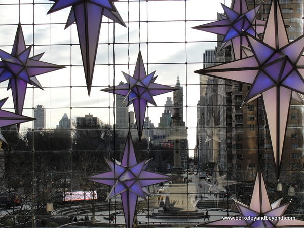 looking out at NYC skyline from The Shops at Columbus Circle