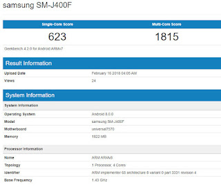 geekbench galaxy j4 listing