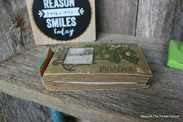 shelf, postcards, Yellowstone, recailmed wood, http://bec4-beyondthepicketfence.blogspot.com/2015/07/project-challenge-reclaimed-wood.html