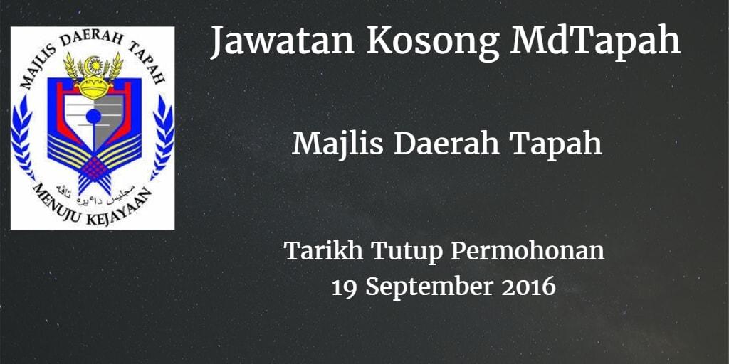 Jawatan Kosong MdTapah 19 September 2016