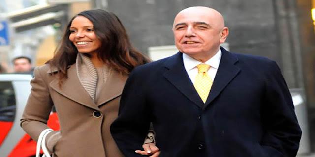مدير فريق ميلانو أدريان غالياني و المغربية مليكة الهزازي