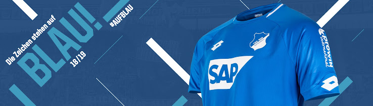 e60ea4af7 Again made by Italian kit maker Lotto, the new TSG Hoffenheim 2018-19 home  kit introduces a clean design in blue, set to be debuted in tomorrow's  match ...