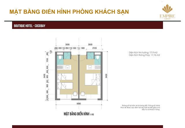 mặt bằng thiết kế phòng mini hotel cocobay đà nẵng