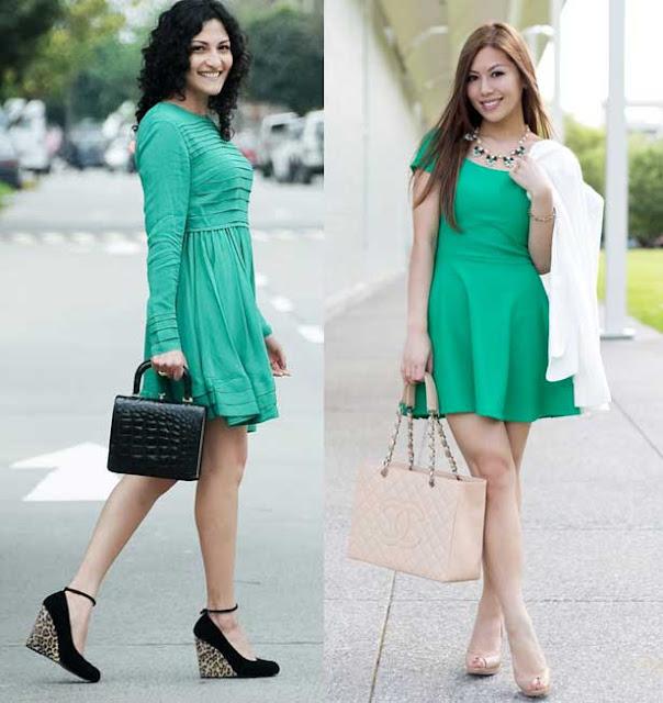 vestido verde zapato