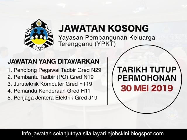 Jawatan Kosong Yayasan Pembangunan Keluarga Terengganu Ypkt Tarikh Tutup 30 Mei 2019