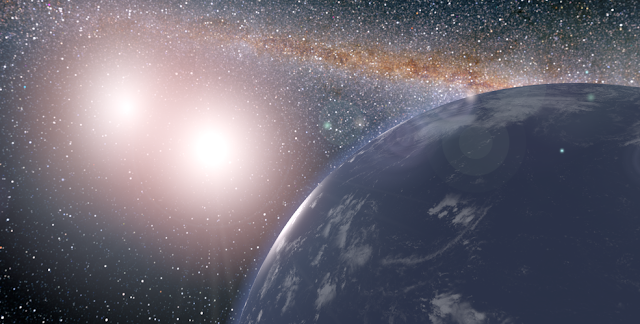 This artist's concept shows a hypothetical planet covered in water around the binary star system of Kepler-35A and B. Credits: NASA/JPL-Caltech