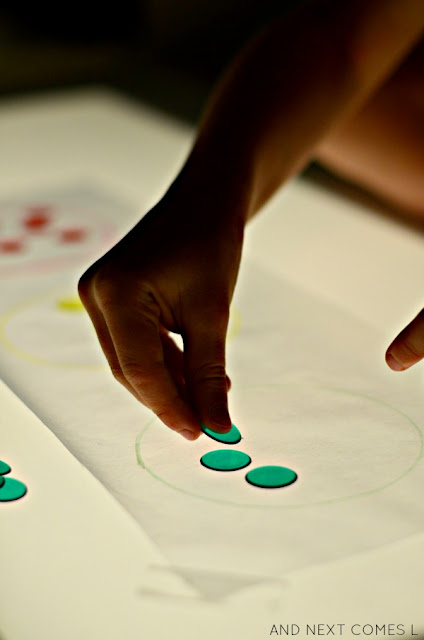 Transportation themed color matching activity for the light table from And Next Comes L