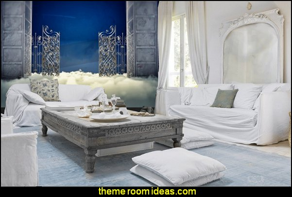 Heaven gate in the sky Mural  mythology theme bedrooms - greek theme room - roman theme rooms - angelic heavenly realm theme decorating ideas - Greek Mythology Decorations - heavenly wall murals - angel wings decor - angel theme bedrooms