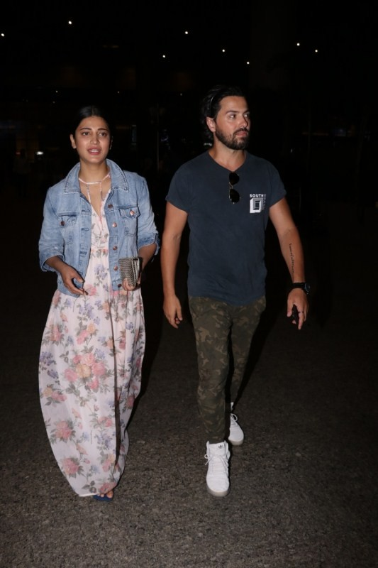 Shruti Haasan Spotted with British Boyfriend Michael Corsale Spotted at Airport