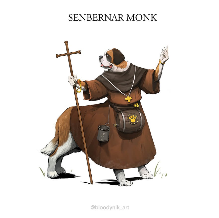 08-St-Bernard-Monk-Nikita-Orlov-Mythical-Dog-Centaur-Digital-Paintings-www-designstack-co