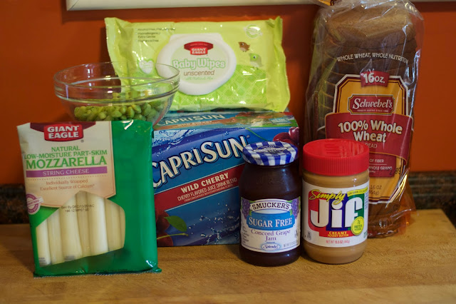 The ingredients needed to make the Peanut Butter and Jelly Sushi Back to School Bento box.