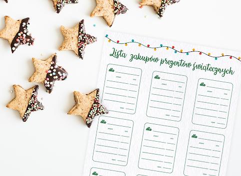 Lista zakupów świątecznych prezentów (do druku za darmo)