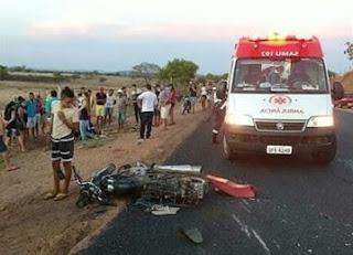 Jovens morrem durante batida frontal entre duas motos no interior da Paraíba