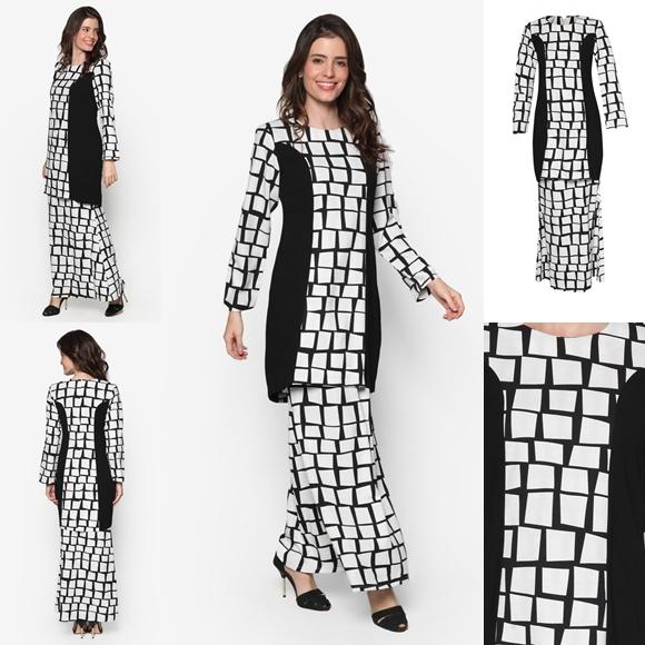 Fesyen Baju Kurung Moden Terkini Black White Monochrome Rabia By Butik Sireh Pinang
