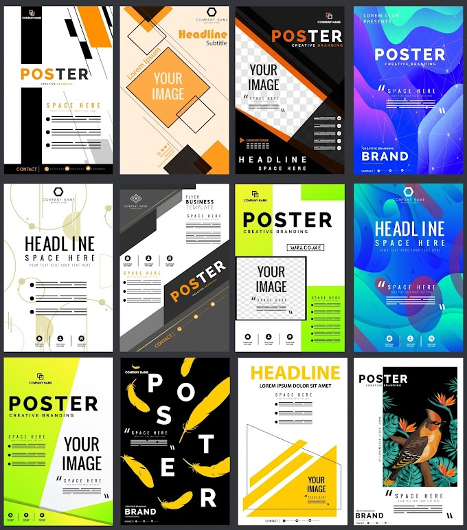 Poster templates colorful modern decor vertical standee shape Free vector