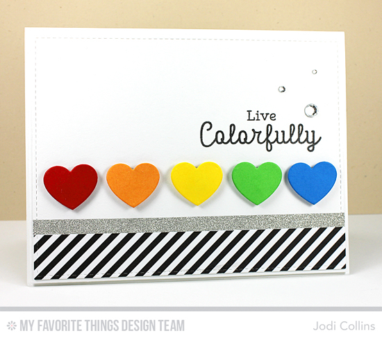 Live Colorfully Card by Jodi Collins featuring Rainbow Greetings stamp set and Blueprints 2, Blueprints 13, and Blueprints 15 Die-namics #mftstamps