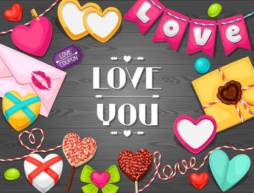 Valentine's day creative greeting card free vector illustration