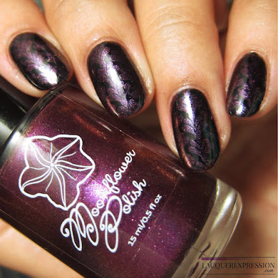 Moonflower Polish Selene nail polish stamped over black
