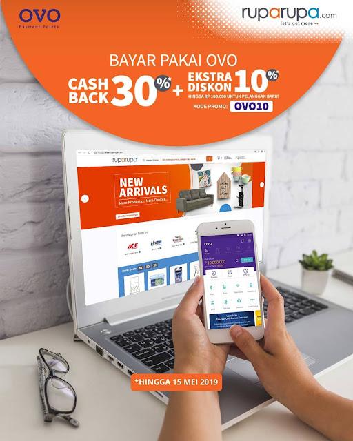 #RupaRupa - #Promo Cashback 30% + Ekstra 10% Bayar Pakai OVO (s.d 15 Mei 2019)