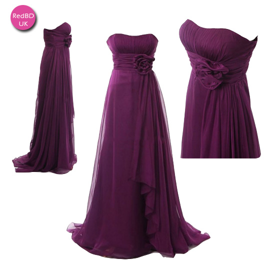 Chiffon Strapless Maternity Long Bridesmaid Dress With A Handmade Flower Accents At The Waistline