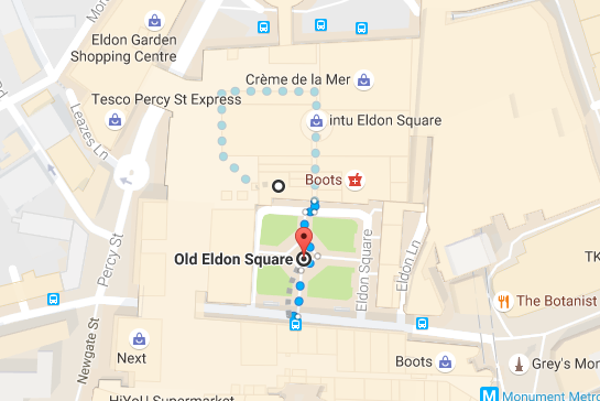 What's On at Screen on the Green in Newcastle plus places for take-out lunch nearby - Nandos Newcastle Map