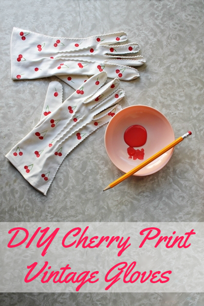 DIY vintage gloves cherry print pinup style gloves from The Vintage Post by Brittany of Va-Voom Vintage