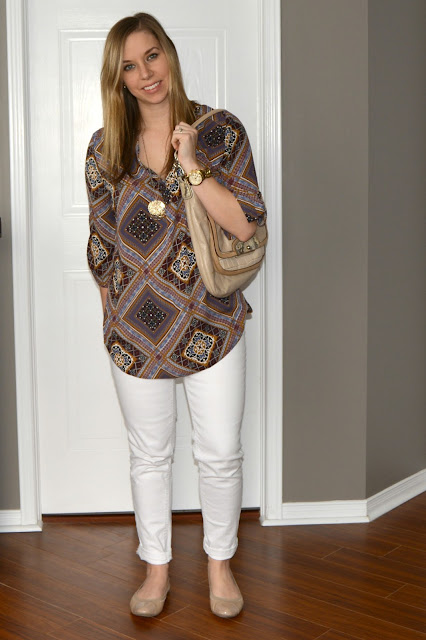 white jeans and patterned blouse