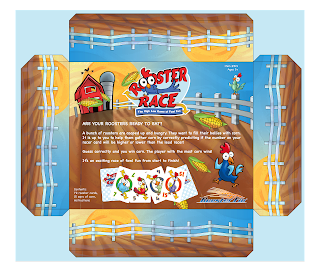 Rooster Race horizontal version of the package back by Imagine That! Design