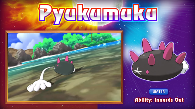 Pokémon Sun Moon Pyukumuku Sea Cucumber Innards Out hand organ fist