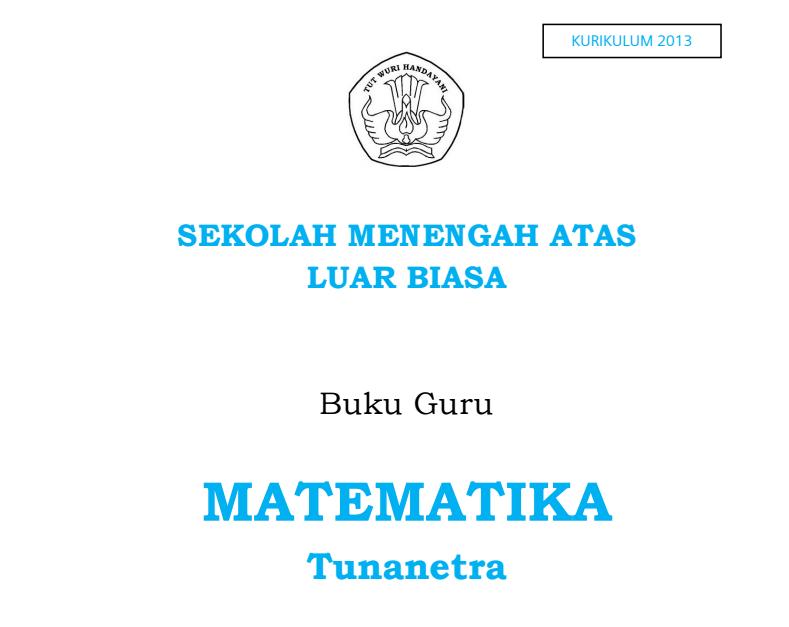 Buku Guru - Mata Pelajaran Matematika Kelas 10 SMALB Tunanetra