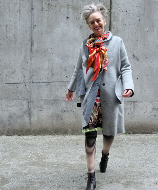 Mel Kobayashi of Bag and a Beret in overcoat from Yuzhe Studios
