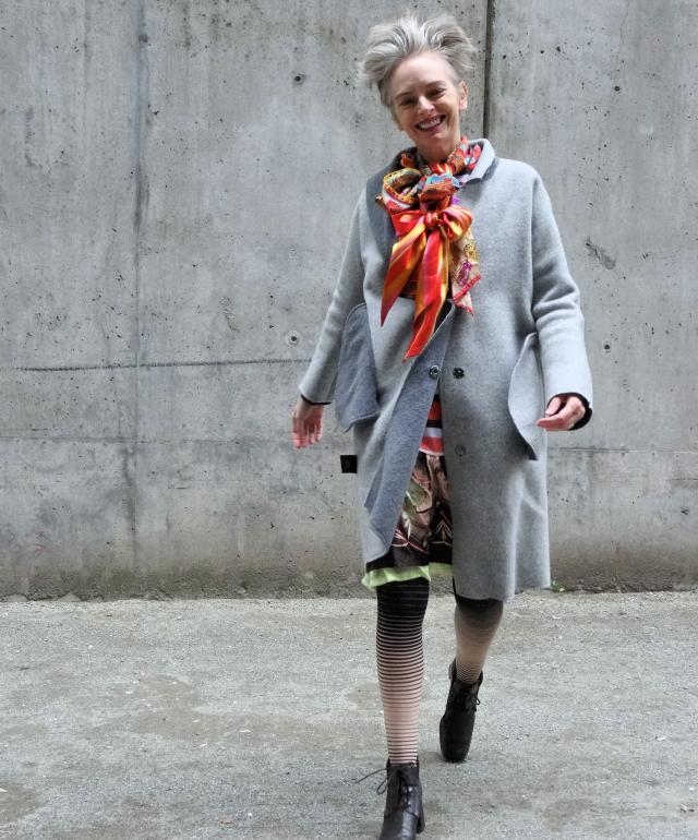 Mel Kobayashi of Bag and a Beret in overcoat from Yuzhe Studios