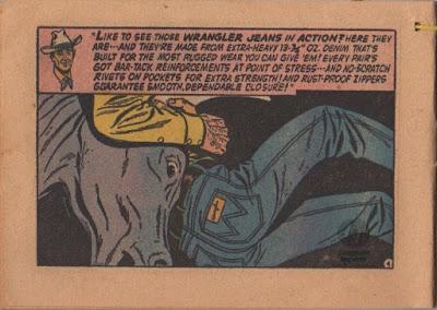 1955年発行のWrangler小冊子11MWZの特徴を牛を押さえつけているカウボーイのジーンズの絵と一緒に紹介。