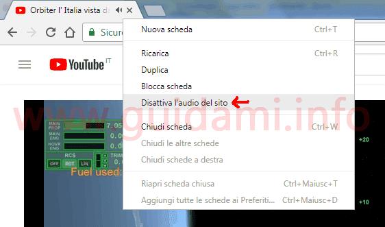 Chrome 64 opzione disattiva audio sito