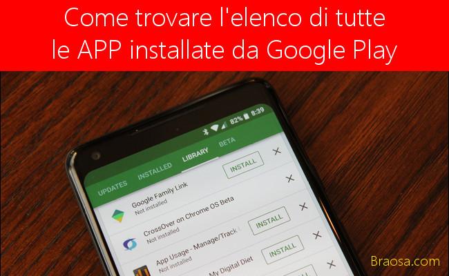 Come trovare un elenco di tutte le app che hai installato da Google Play