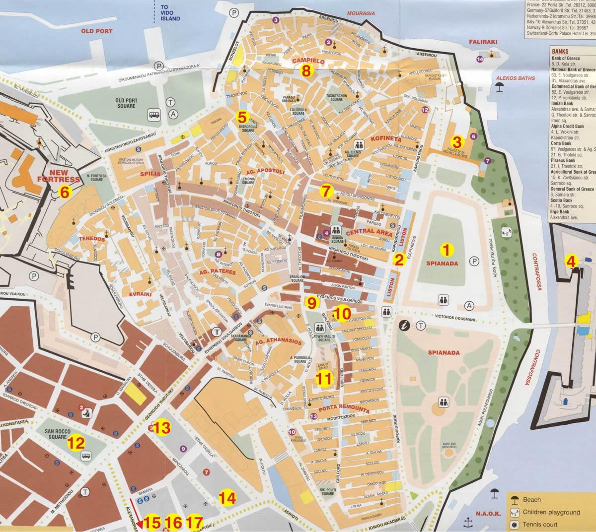 grad krf mapa hotelagent.rs: Znamenitosti grada Krfa grad krf mapa