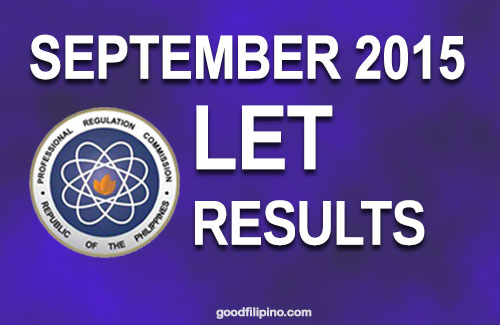 Sept. 2015 LET Exam Results - Top 10 Passers for Secondary Level