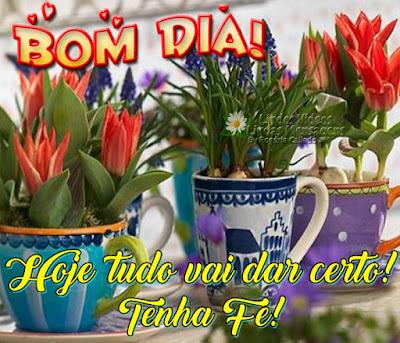 Bom Dia! Hoje tudo vai dar certo! Tenha fé!